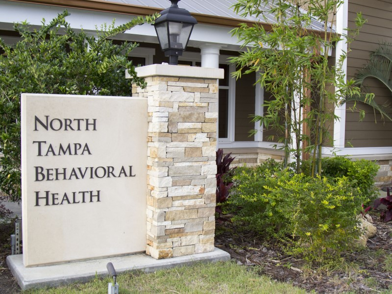 A sign for North Tampa Behavioral Health